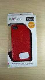Flap case synthetic leather for iPhone 4 flip cover red snakeskin Brand new