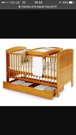 Cot bed with drawer and changer