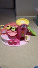 Pink toddler baby car garage