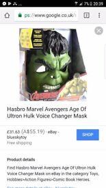 Hulk voice changer mask same as pic,no box