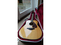 YAMAHA FG750S ACOUSTIC GUITAR AND HISCOX HARD CASE. BOTH MINT