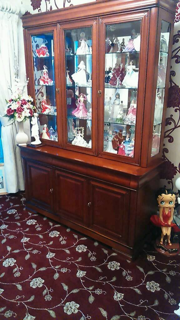 Display cabinet antique pinein Codsall, West MidlandsGumtree - Quality 3 door display unit 3 tier internal glass shelves and spotlights immaculate condition not chipboard