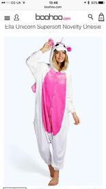 Boohoo women's unicorn onesie size small