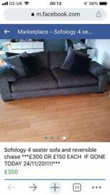 Sofas 4 seater and chais long