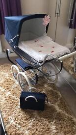Navy Silvercross Dolls Pram