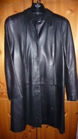 MARKS AND SPENCER LADIES FULL LENGTH BROWN LEATHER COAT COST OVER £200