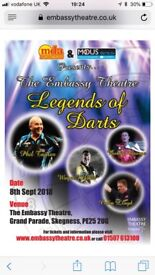 Legends of darts x 3 Gold tickets 8th September Skegness