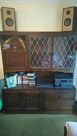 Real wood dining/living room dresser with leaded windows