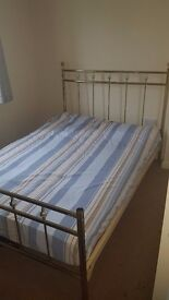 metal frame bed excellent quality gold colour with new bed mattress £100 only one