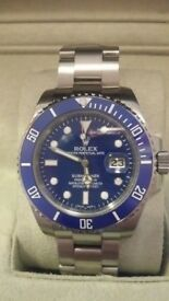 rolex submariner blue bezal 120 clicks sapphire glass 2.5x date mag, glide lock clasp same weight