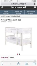 White Wooden Bunk Beds - Mint Condition / 2x Mattresses