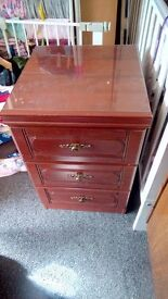 Matching bed side tables, 3 drawers.