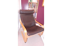 Poang brown leather armchairs & footstool (Ikea)