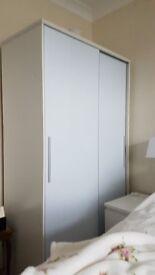 Wardrobe Double with Sliding Doors White Gloss Finish