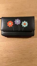 Soft black leather purse wallet. New