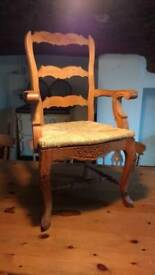 VINTAGE PINE WICKER CHAIR