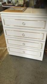 White chest draws and wardrobe on casters v good condition