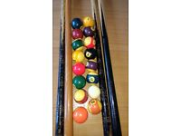 Joblot pool table 2 inch balls and cues and rests and table brush +spare balls
