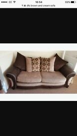 Brown gold and cream sofa