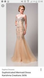 Stunning nude / blush fishtail strapless beaded prom dress by Karishma Creations size 6