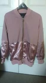 Pretty Little Things size 6 rose pink with satin panelled bomber jacket