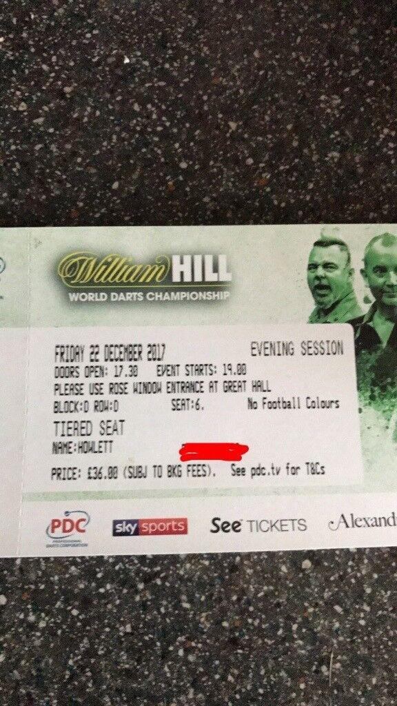 2 X William Hill World Darts Championship tickets