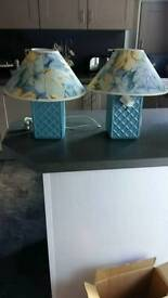 Pair Square pottery Lamps Blue and Yellow Floral coolie shades