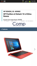 red hp netbook 10.5 inc screen