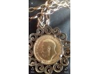 Heavy Edwardian 24k Gold Sovereign with Chain 1912