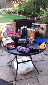A box of 30 plus items suitable for selling at car boot.