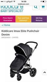 Kiddicare Imax Elite Pushchair Denim with accessories (adapters, rain cover and foot muff)