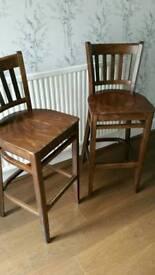 Two walnut stools