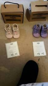 Baby ugg boots purple leopard and baby pink leopard 0-6months 2 pairs