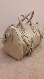 cream leather effect bag