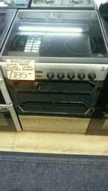 INDESIT 60CM ELECTRIC DOUBLE OVEN COOKER IN SILVER