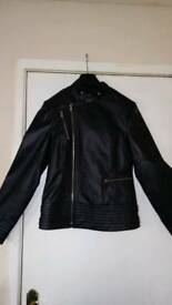 Real leather biker style jacket size 10 new without tags