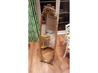 Gold antique style free standing mirror