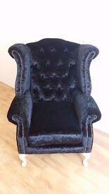 Black Velvet Queen Anne style chair