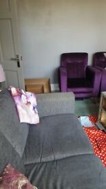 Grey Two Seater sofa and Two Purple Armchairs