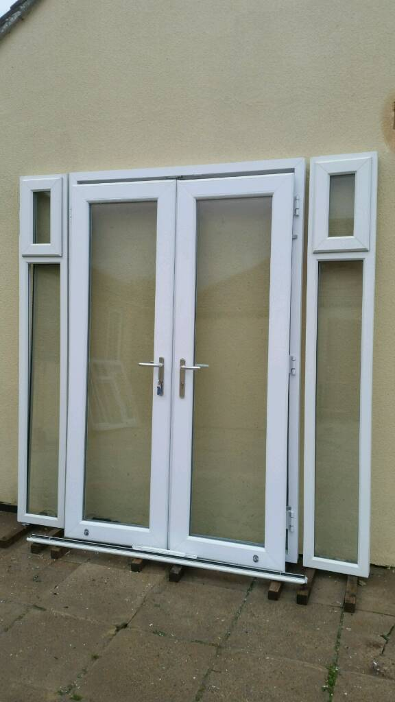 Upvc French Patio Doors With Side Windows Excellent Condition New