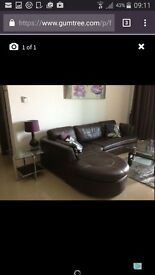 Excellent Condition Brown Leather Corner Seatee