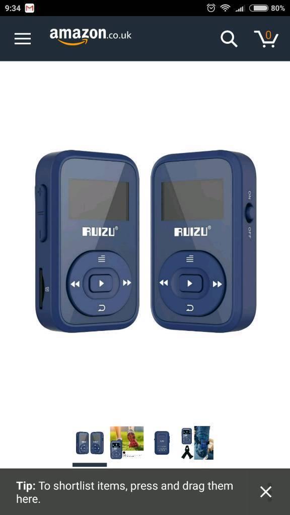 Ruizu 8gb Bluetooth mp3 player