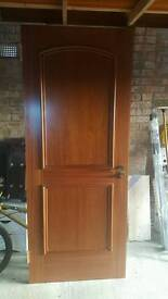 Pre-finished mahogany fire doors with handles/hinges/latches