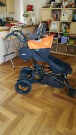 micralite twofold pram with integral toddler step liner and raincover