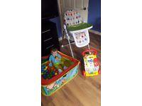 Mamas and Papas high chair, ball pool and baby walker bundle. Bargain!!