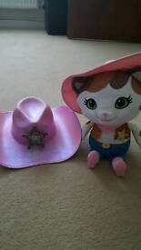 Sheriff callie talking plush teddy and hat