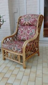 Cane conservatory chair with cushions