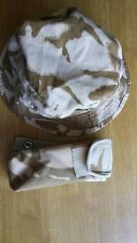Military pouch and hat desert style