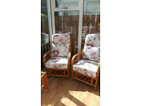Oslo cane conservatory furniture 2 seat sofa, 2 armchairs and 1 coffee table.