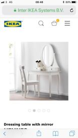 Ikea white dressing table with stool